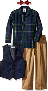 Boys' 4-Piece Set with Dress Shirt, Bow Tie, Pants, and Vest