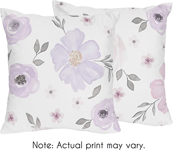 Sweet Jojo Designs Lavender Purple Pink Grey And White Decorative Accent Throw Pillows For Watercolor Floral Collection Set Of 2 Rose Flower