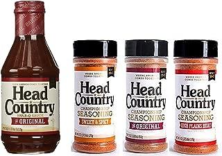 Head Country BBQ KIT: BBQ Sauce plus Original, Sweet & Spicy, and High Plains Heat Seasonings