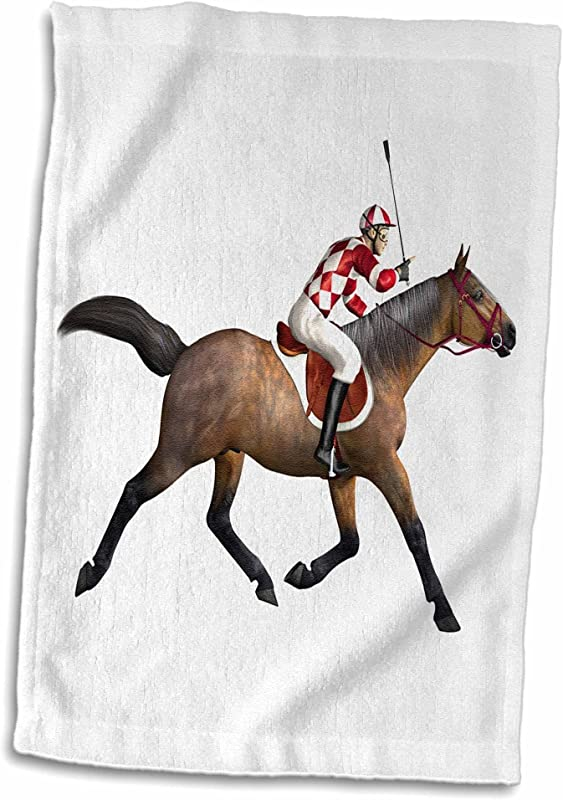 3D Rose Racing Horse And Jockey From The Side Hand Towel 15 X 22 Multicolor