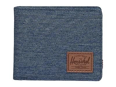 Herschel Supply Co. Roy Coin RFID (Indigo Denim Crosshatch/Saddle Brown) Wallet Handbags