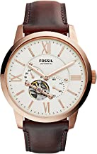 Fossil Men's Townsman Automatic in Rose Goldtone with Dark Brown Leather Strap