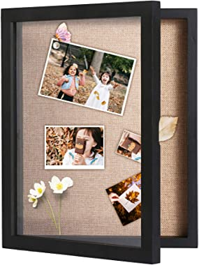 """C&AHOME Shadow Boxes, Shadow Box Frame Display 11"""" x 14"""", Wood Wall Display Case with Glass Frame, Ideal for Keep"""
