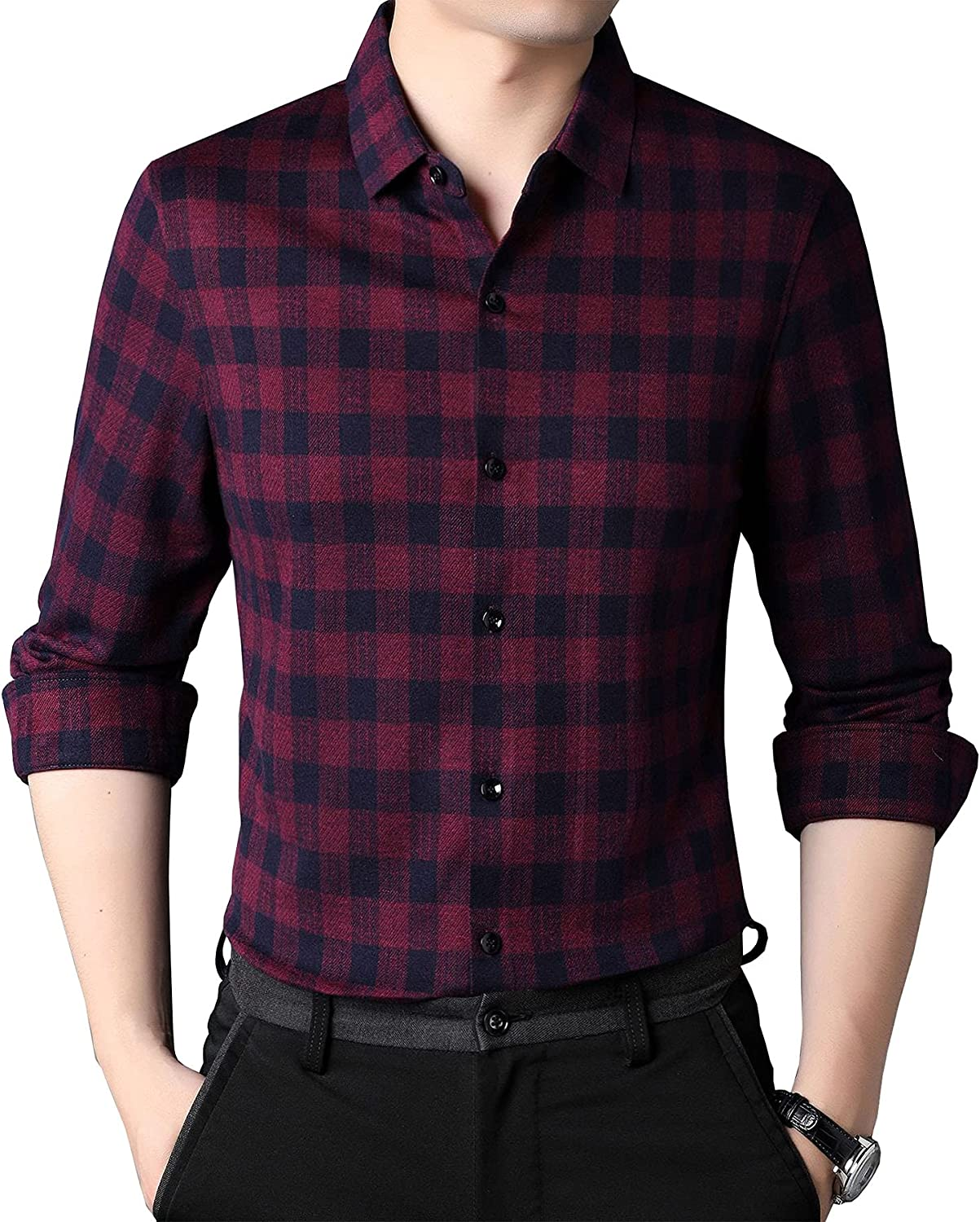 Men's Business Padded Long-Sleeved Shirt Plaid Wool Cashmere Middle-Aged Shirt Men