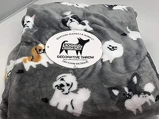 Lili Chin Designs Berkshire Blanket Doggie Drawings Gray Pet Plush Throw Blanket - Various Dogs
