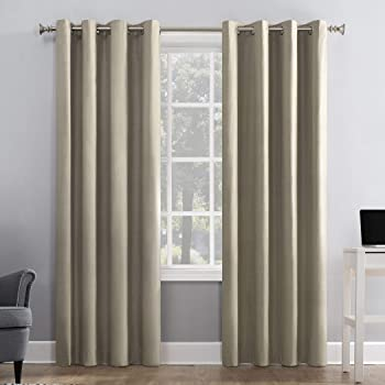 """Sun Zero Duran Thermal Insulated 100% Blackout Grommet Curtain Panel, 50"""" x 84"""", Linen Off-white"""