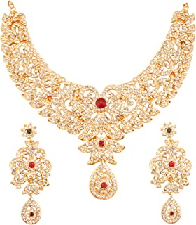 Touchstone Indian Bollywood Exclusive Kundan Bridal Designer Jewelry Necklace Set in Gold Tone for Women.