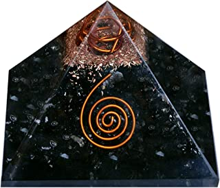 Healing Crystals Chakra Stones Emf Protection Orgone Pyramid, Reiki Energy Meditation Negative Ion Generator Pyramid for Positive Energy with Quartz and Copper (Black Tourmaline, 50MM-60MM)
