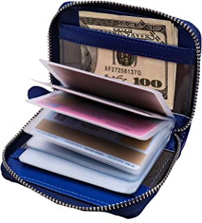 RFID Blocking Wallet - Genuine Leather Zipper Credit Card Holder With 22 Card Slots