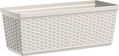 Macetero Emsa 515021 Casa Mesh para el balcón (longitud: 50 cm, sistema de riego automático) Blanco