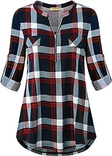 MIXJOY Baikea Women's 3/4 Sleeve V Neck Plaid Shirt Casual Tunic Blouse with Chest Flaps