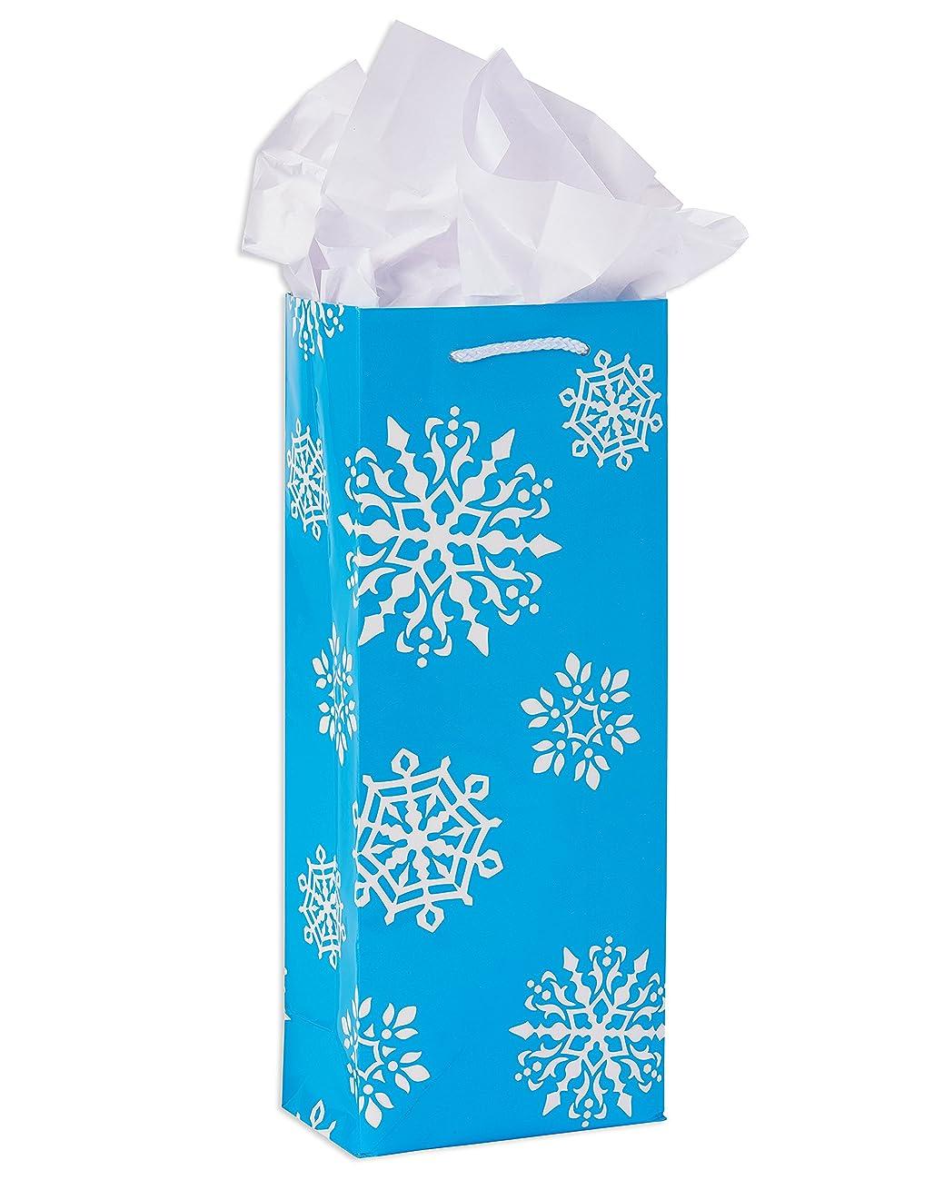 American Greetings Wine Winter Combo Snowflakes Gift Bag, Blue