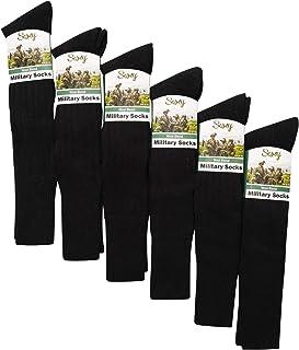 Soxy, 6 calcetines militares para hombre, mezcla de lana, calcetines largos de manguera – Reino Unido 6 – 11