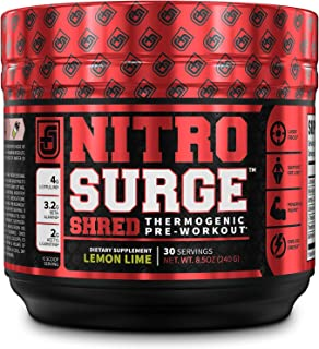 NITROSURGE Shred Pre Workout Supplement - Energy Booster, Instant Strength Gains, Sharp Focus, Powerful Pumps - Nitric Oxi...