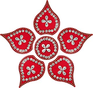 Aheli Modak Shape Acrylic Rangoli 6 Piece for Home Office Diwali Indian Festivals Decoration Traditional Studded with Faux Stones Floor Decorations (Red)