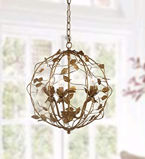Safavieh CHA4007A Lighting Collection Austen Cage Gold Leaf Chandelier,