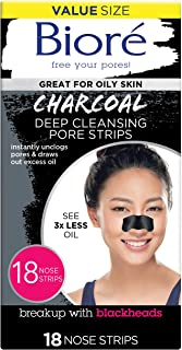 Bior� Charcoal, Deep Cleansing 18 Nose Strips for Blackhead Removal on Oily Skin, with Instant Pore Unclogging, features Natural Charcoal (Packaging May Vary)