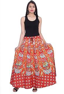 Kastiel RED Cotton Long Printed Sanganeri Jaipuri Skirt for Woman's/Girls