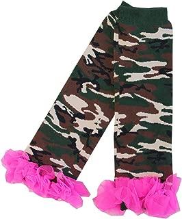Baby Hot Pink Ruffles Green Camo Camouflage Leg Warmers