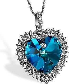 5starwarehouse/® Collier en alliage plaqu/é argent avec pendentif en forme de c/œur en cristal bleu style c/œur de l/'Oc/éan dans Titanic