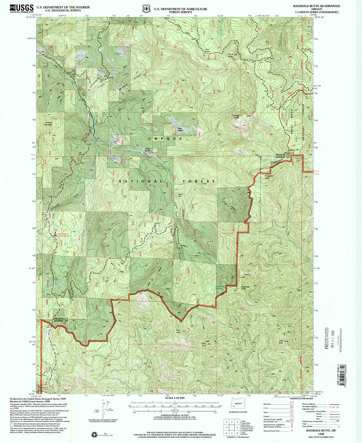 Ragsdale Butte OR topo map, 1 24000 Scale, 7.5 X 7.5 Minute, Historical, 1998, Updated 2000, 26.7 x 21.9 in