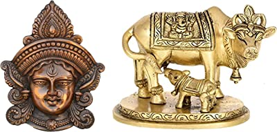 eCraftIndia Goddess Durga Metal Wall Hanging (22.5 cm X 6.25 cm X 27.5 cm, Brown) & Brass Holy Kamdhenu Cow and Calf Idol Combo