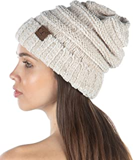 Funky Junque Exclusives Womens Beanie Oversized Slouchy Hat Ribbed Knit Warm Cap