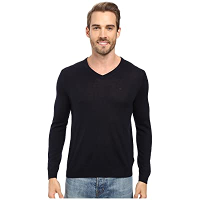 Calvin Klein Solid Merino V-Neck Sweater (Roma) Men