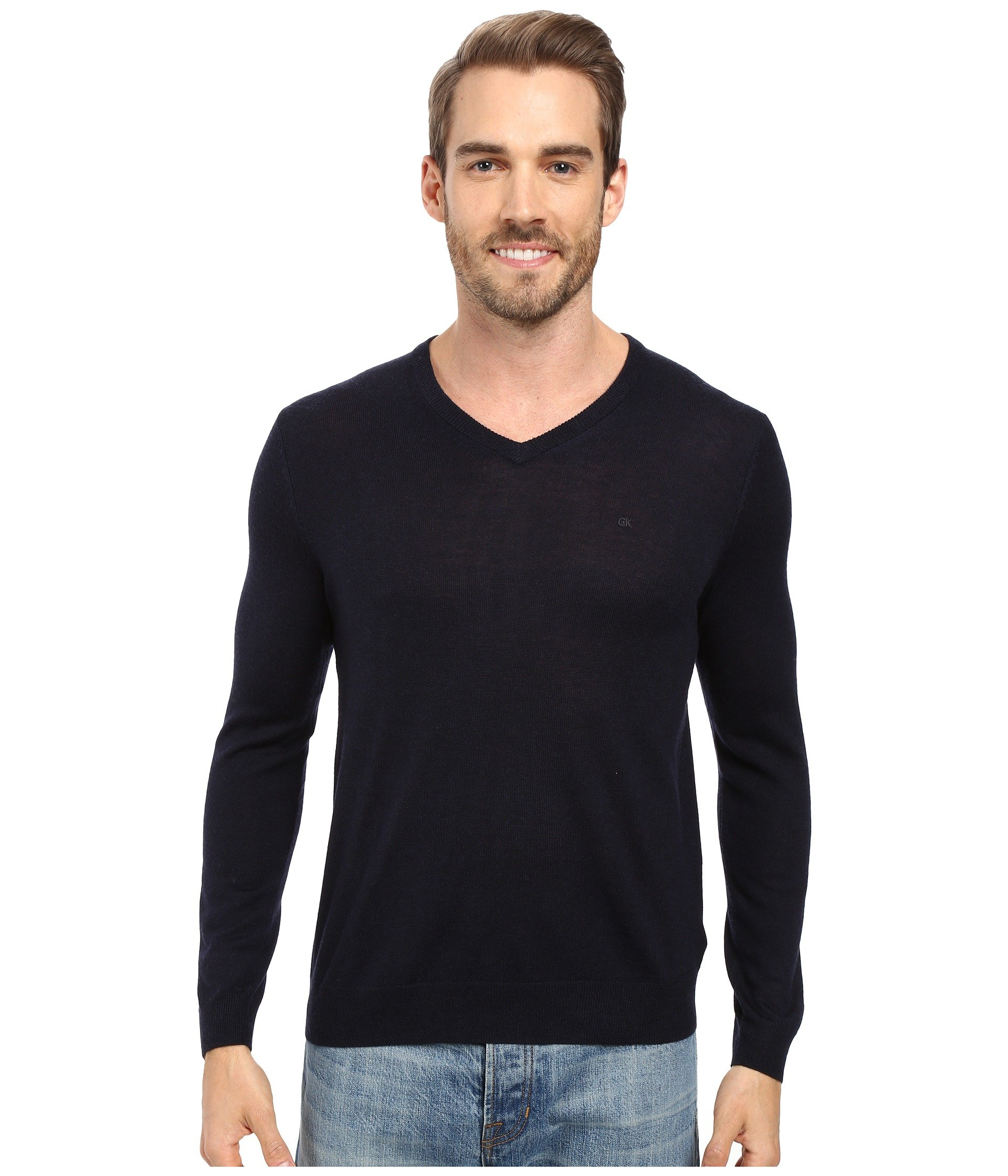 Calvin Klein  Solid Merino V-Neck Sweater, ROMA