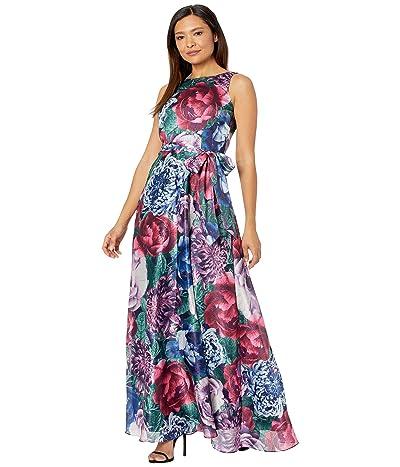 Tahari by ASL Sleeveless Printed Satin Shimmer Maxi Dress with Self Tie Waist (Sage Fuchsia Floral) Women