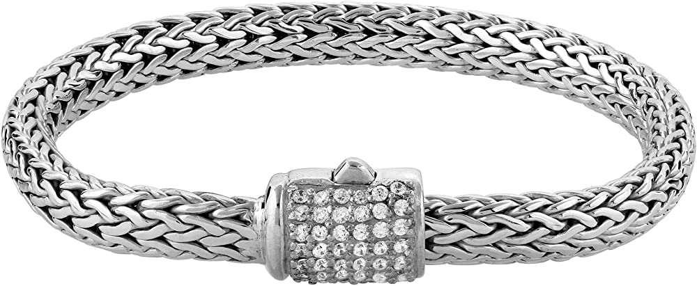 Kuzzoi,  bracciale da donna, in argento sterling 925(40 gr) massiccio,con 42 cubic zirconia 335203-018