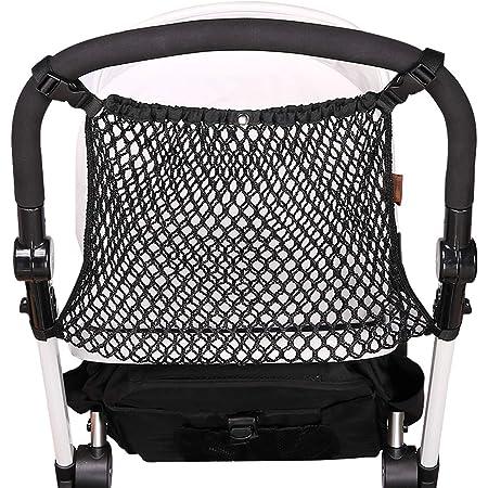 Black Flybloom Hanging Bag Behind Baby Stroller Practical Baby Infant Stroller Mesh Bottle Diaper Storage Organizer Bag Holder