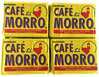 Espresso Cafe El Morro 100% Pure Coffee! Set of 4 Packages 6 oz each! Rich, Robust, Ground Espresso Ready For Your Morning Brew!