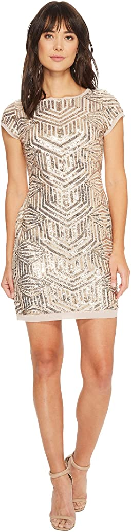Vince Camuto - Sequin Cap Sleeve Sheath Dress