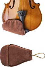 New West Suede Chin Rest Cover for Violin and Viola Musical Instruments, Brown, Thin Comfortable Chinrest and Soft Foam Li...
