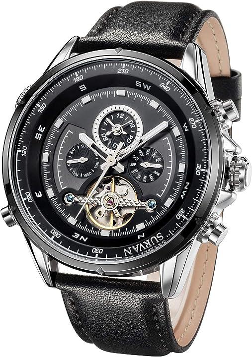 Orologio da uomo survan watchdesigne con scheletro meccanico automatico cinturino in vera pella nero SVA0001