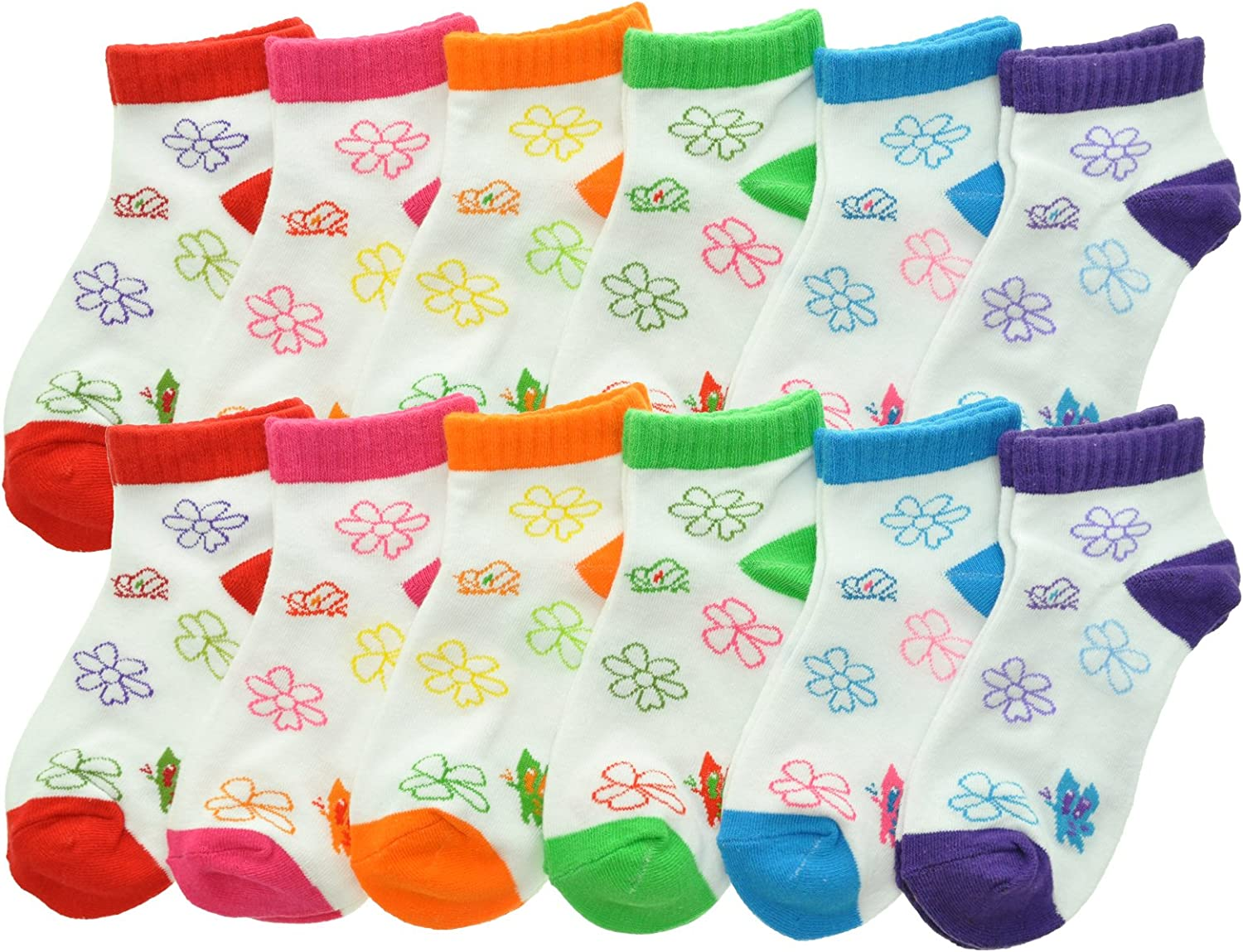 12-Pack Angelina Cotton Variety Low Cut Trainer Socks