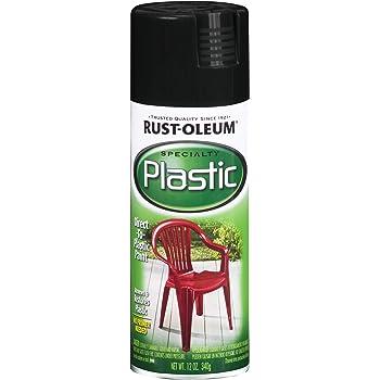 Rust-Oleum 211338 Paint for Plastic Spray, 12 oz, Black