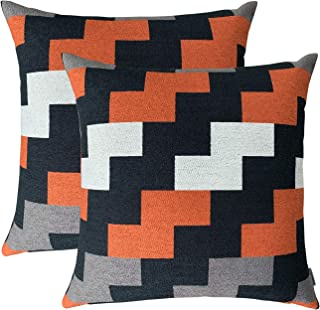 ROMANDECO Set of 2 Jacquard Plaid Check Pillow Cases Decorative Throw Pillow Covers Cushion Case for Sofa Couch 18x18 Inch, Orange