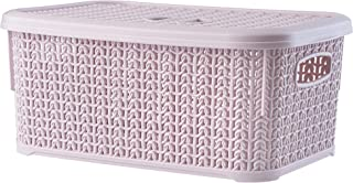 KADAX Panier de rangement rectangulaire avec couvercle, 6 L, boîte de rangement en plastique, panier de rangement pour sal...
