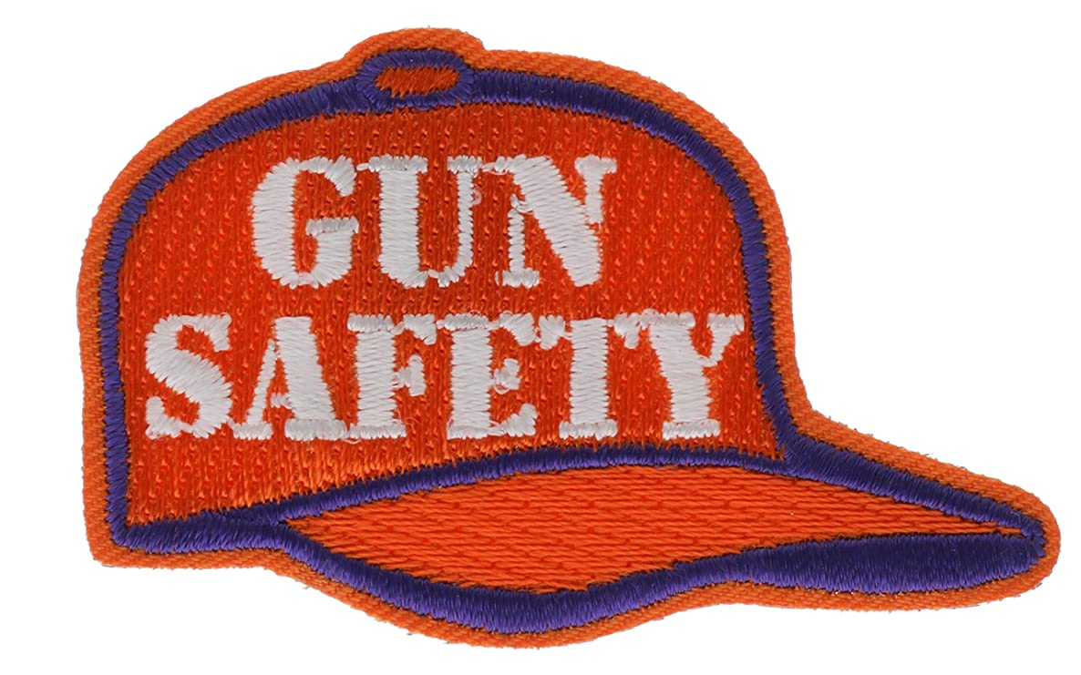 Gun Safety Orange Hunter Hunting Embroidered Patch 2 inch AV3207