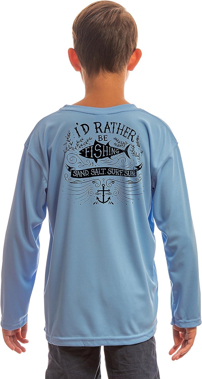 SAND.SALT.SURF.SUN. Rather Be Fishing Youth UPF 50+ UV Sun Protection Performance Long Sleeve T-Shirt
