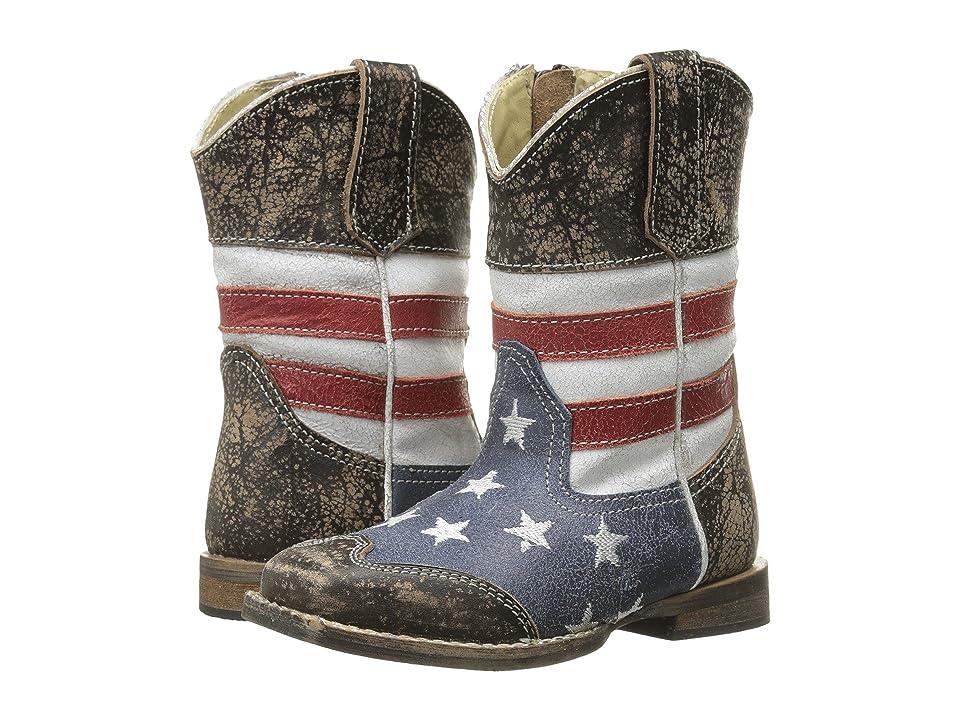 Roper Kids Sanded Leather Upper (Toddler) (Blue) Cowboy Boots