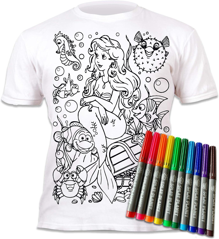 Splat Planet Camiseta Sirena para niñas. con impresión para Pintar y Colorear. Incluye 6 Colores mágicos Lavables. Cumpleaños Infantil.