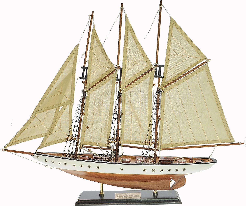 SAILINGSTORY Wooden Sailboat Model Ship Sailboat Decoration Three Mast Gaff-Rigged Schooner Atlantic Yacht Model 1:50 Scale Replica Ivory and Honey Antique Finish