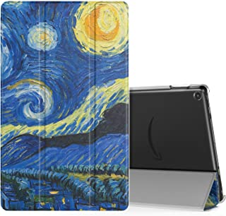 MoKo Case Fits All-New Fire HD 10 (7th Generation and 9th Generation, 2017 and 2019 Release), Smart Shell Stand Cover with Translucent Frosted Back for Fire HD 10.1 Inch, Starry Night