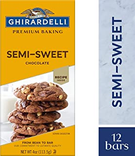 Ghirardelli Premium Baking bar, Semi Sweet Chocolate, 4 Oz (Pack Of 12)