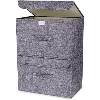 DIMJ Cajas Almacenaje Lavable, Juegos de 2 Cajas Organizadoras con Tapa y Asa, Cubos de Almacenamiento Plegable, Cajas de Tela para Ropa Juguetes Libros: Amazon.es: Hogar