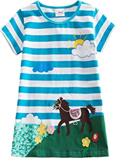Jxs Neat Girls Short Sleeve Cotton Dresses Kids Clothes Summer 1-6 Years AS6499