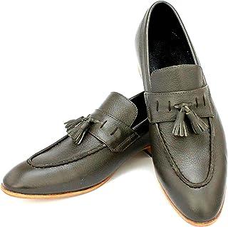 TAAVETTI Mens Casual Grey Handmade Leather Viridine Loafer Shoe